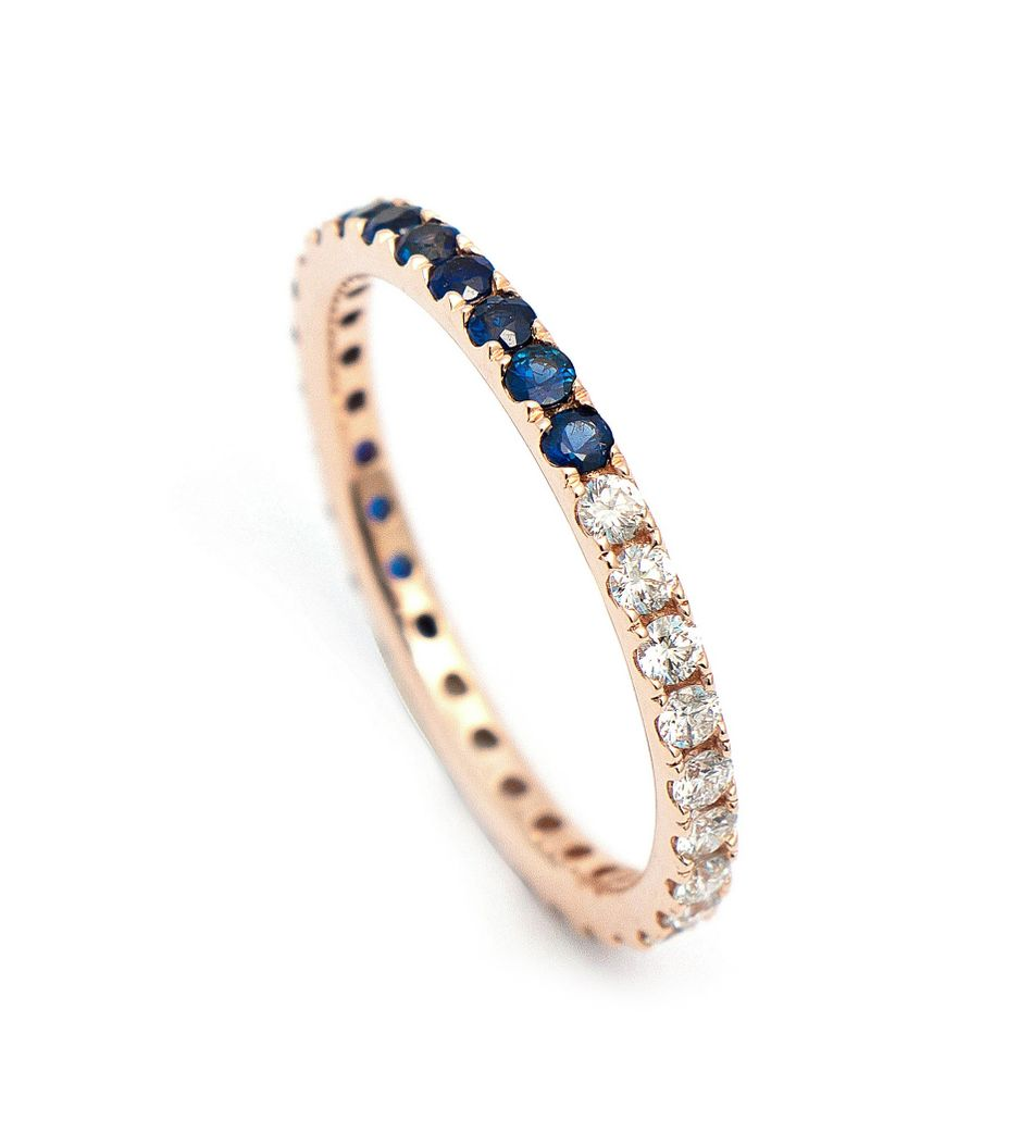 Aliança half and half em ouro com diamantes e safiras