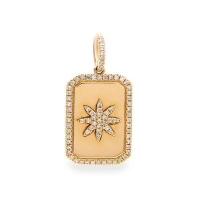 Berloque retangular em ouro com diamantes