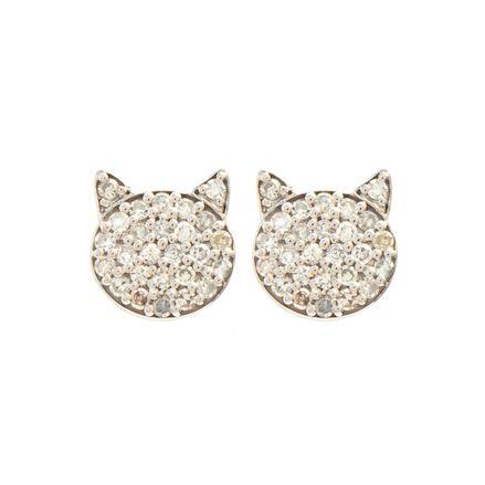 Brinco stud gatinho em ouro com diamantes