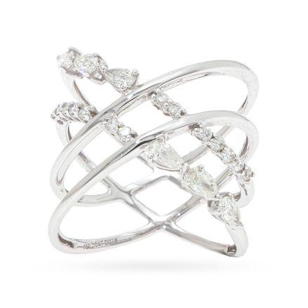 Anel aros intercalados em ouro com diamantes