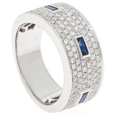 Anel em ouro com fileiras de diamantes e safiras