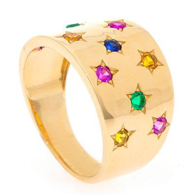 Anel rainbow em ouro com safiras