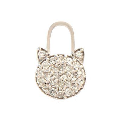 Berloque-para-brinco-com-formato-de-gatinho-em-ouro-branco-18kt-com-diamantes-em-lapidação-brilhante