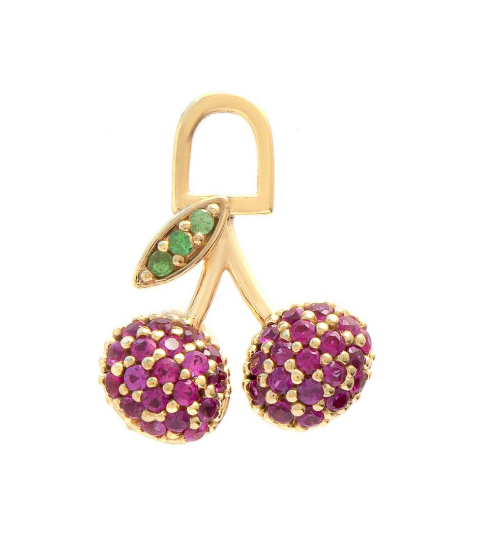 Berloque para brinco cereja em ouro com rubis e tsavoritas