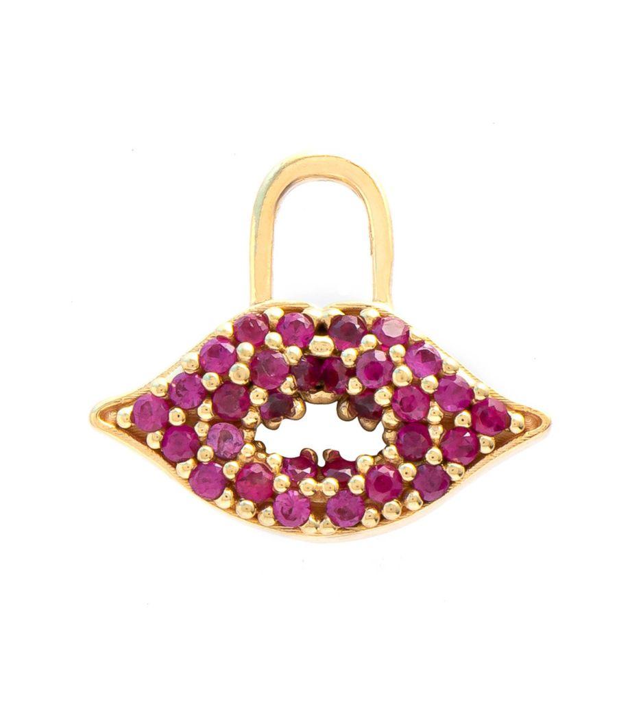 Berloque para brinco lips em ouro com rubis