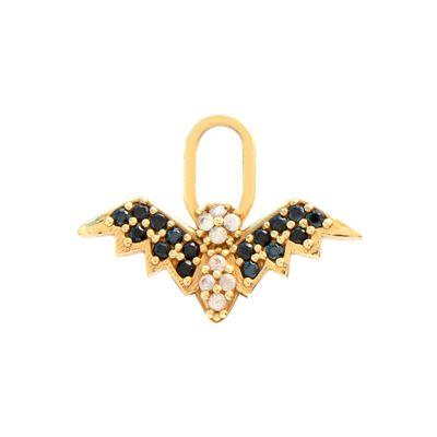 Berloque para brinco morcego em ouro com safiras e espinélios