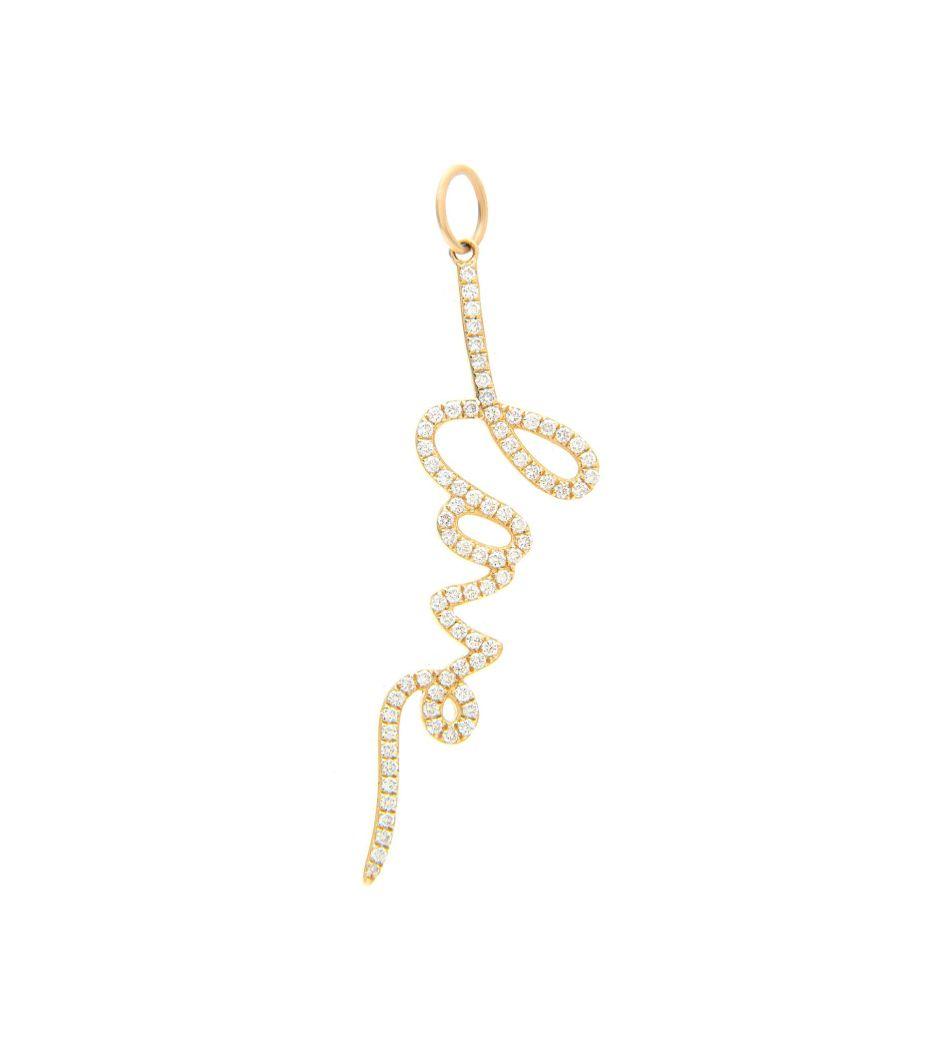 Berloque Love handwritter em ouro com diamantes