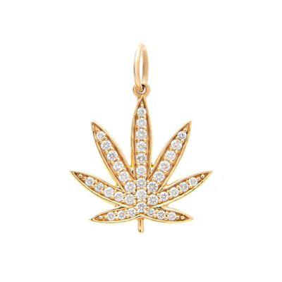 Marijuana charm em ouro com diamantes