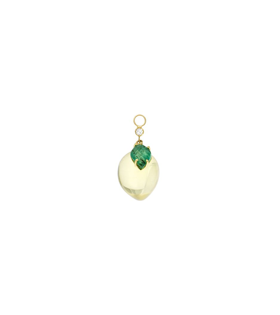 Par de berloques Essere Limão em ouro com quartzo e esmeralda