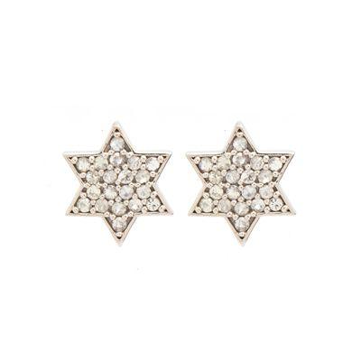 Par-de-brinco-stud-em-formato-de-estrela-em-ouro-branco-18kt-com-topazios-incolores-em-lapidacao-brilhante