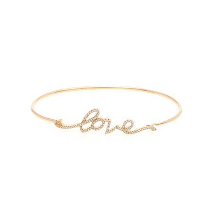 Pulseira handwritten love em ouro com diamantes