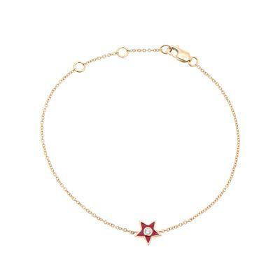 Pulseira-em-ouro-amarelo-14kt-com-estrela-esmaltada-em-vermelho-e-diamante-em-lapidacao-brilhante