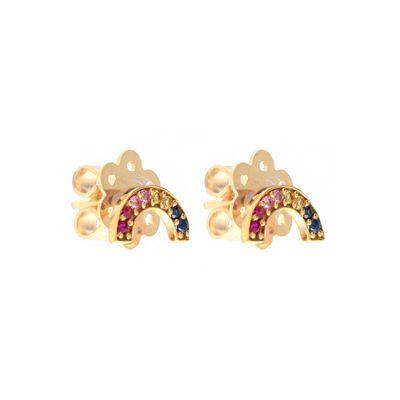 Par-de-brincos-stud-em-formato-de-arco-íris-em-ouro-com safiras e rubis