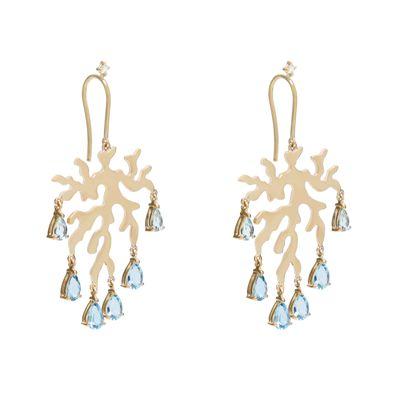 Brinco-Essere-Alga-Marinha-drops-em-ouro-amarelo-18kt-com-aguas---marinhas-em-lapidacao-gota-e-diamantes-em-lapidacao-brilhante