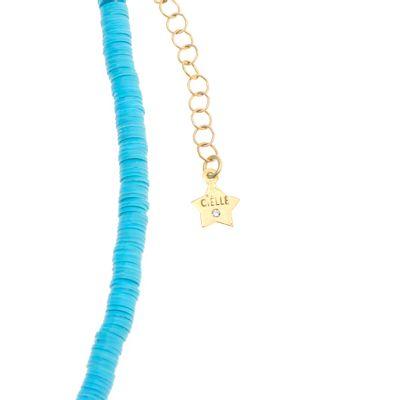 Colar Cielle Ebony azul e rosa em ouro com diamante