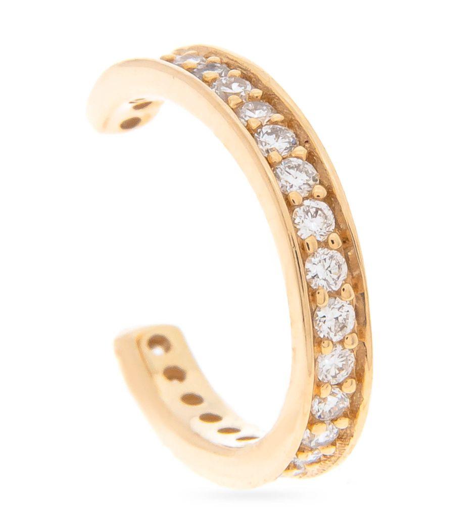 Brinco piercing em ouro com diamantes one row