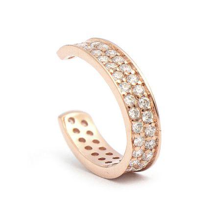 Brinco piercing em ouro com diamantes two rows