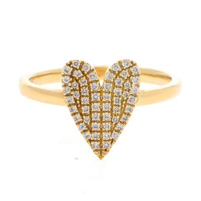 Anel coração em ouro com pavê de diamantes