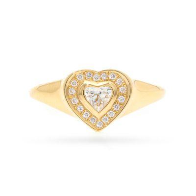 Anel pinky coração em ouro com diamantes