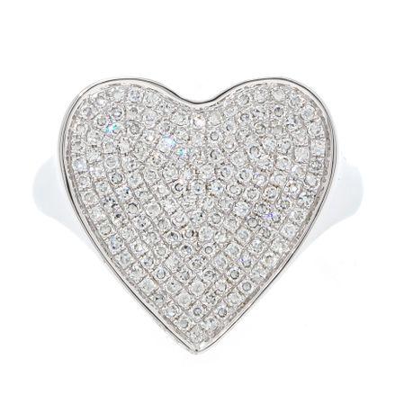 Anel coração em ouro com diamantes