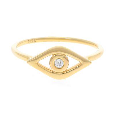 Anel olho grego em ouro com diamante