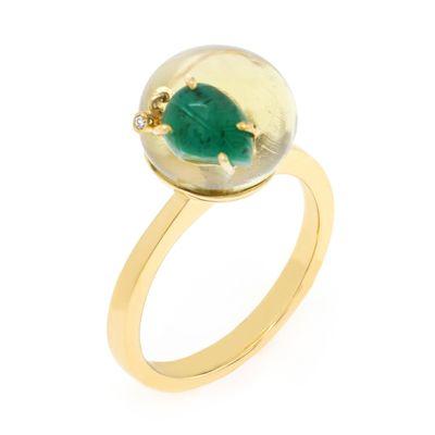 Anel Essere Limão em ouro com esmeralda, quartzo e diamante