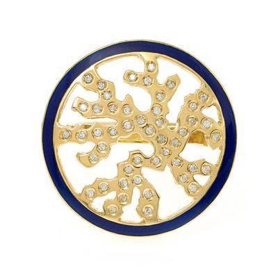 Anel Essere Alga Marinha em ouro com esmalte e diamantes