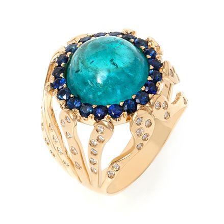 Anel Essere Chevalier Alga Marinha em ouro com apatita, safiras e diamantes