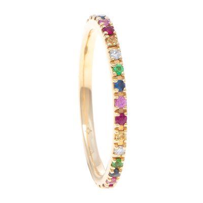 Aliança inteira rainbow de ouro com diamantes e safiras