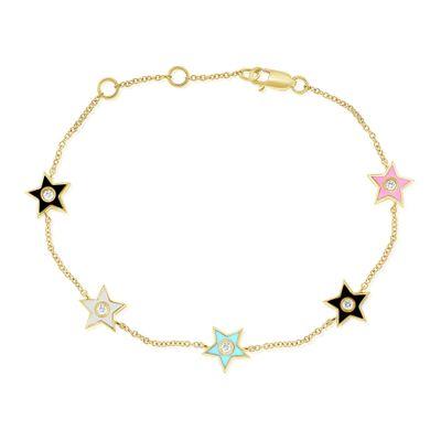 Pulseira-estrela-de-ouro-com-esmalte-e-diamantes