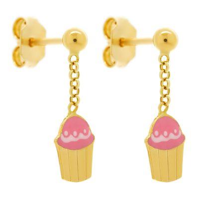Brinco-infantil-cupcake-de-ouro-com-esmalte