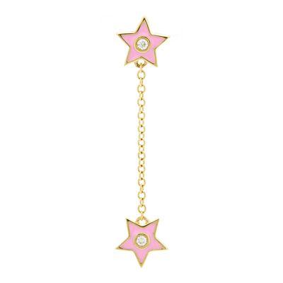 Brinco-único-estrelas-de-ouro-com-diamante-e-esmalte-